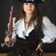 Beautiful girl - sea pirate with pistol — Stock Photo