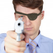 Portrait of guy with eye-patch shooting — Stockfoto