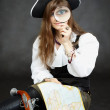 Woman pirate, and map — Stock Photo