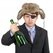 Russian business man in hat earflaps - Stock Photo