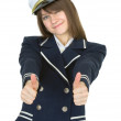 Girl in uniform sea captain, isolated — Stock Photo