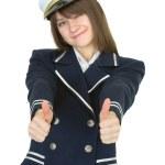 Girl in uniform sea captain, isolated — Stock Photo