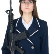 Woman in uniform sea captain with rifle — Stock Photo