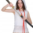 Girl teen slowly takes out katana — Stock Photo #2358179