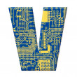 Letter from electronic circuit board — Stock Photo