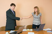 Greeting of young businessmen office — Stock Photo
