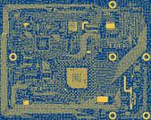 Tech industrial electronic blue circuit backgrou — Stock Photo