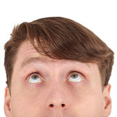 Eyes of man looking up close — Stock Photo