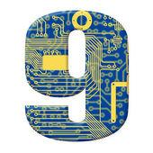 Chiffre de l'alphabet de la carte de circuit imprimé — Photo