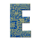 Letter from electronic circuit board alphabet on — Stock Photo