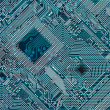 Printed dark industrial circuit board — Stock Photo