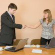 Handshake men and young women — Stock Photo #2366461