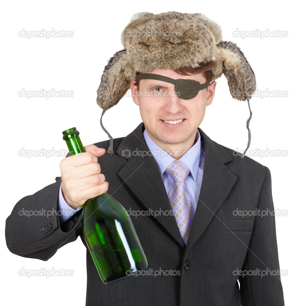 Hospitable russian peasant with a bottle in his hand — Stock Photo #2368782