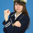 Captain with emotional gesture — Stock Photo