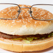 Jolly clever sandwich with glasses — Stock Photo