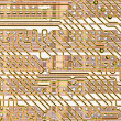 Stock Photo: Background - golden circuit board