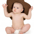 Baby and cowboy hat on white — Stock Photo