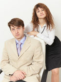 Business portrait of man and woman — Stock Photo