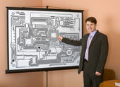 Engineer demonstrates new design — Stock Photo