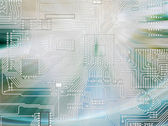 Rays of light shining and circuit board — Stock Photo