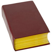 Big book in brown leather cover on white — Stock Photo