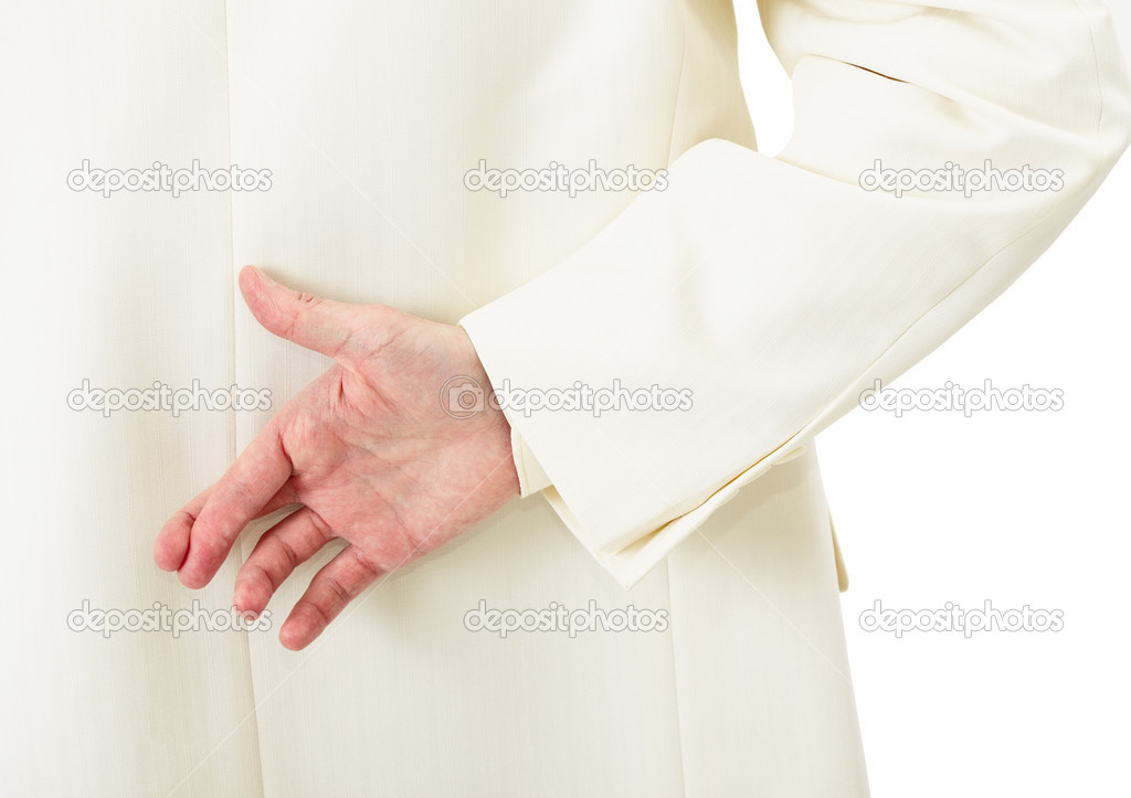 Businessman in white suit with crossed fingers behind his back — Stock Photo #2373637