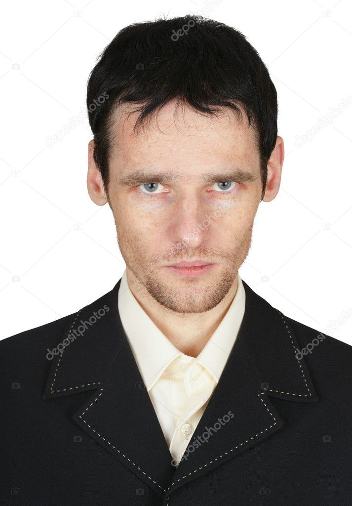 Serious young man with unshaven face on white — Stock Photo #2374526
