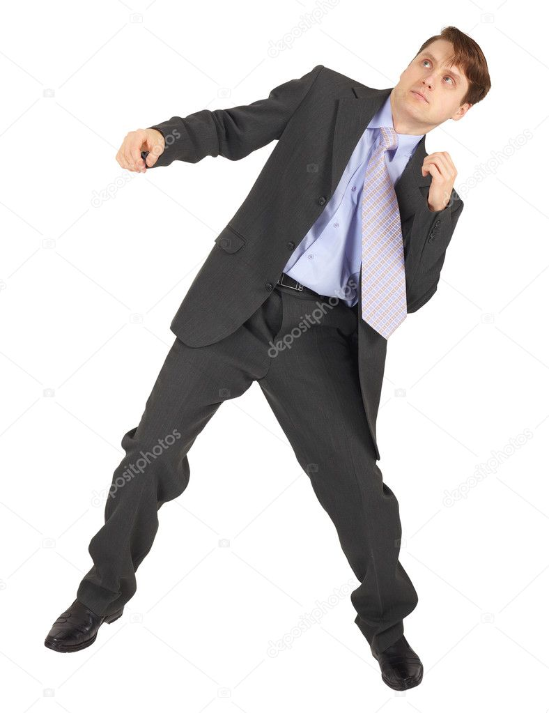 Young man dodges the blow, isolated on a white background — Stock Photo #2374723