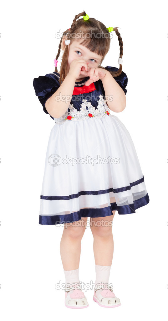 A shy little girl in a beautiful dress on white — Stock Photo #2374889