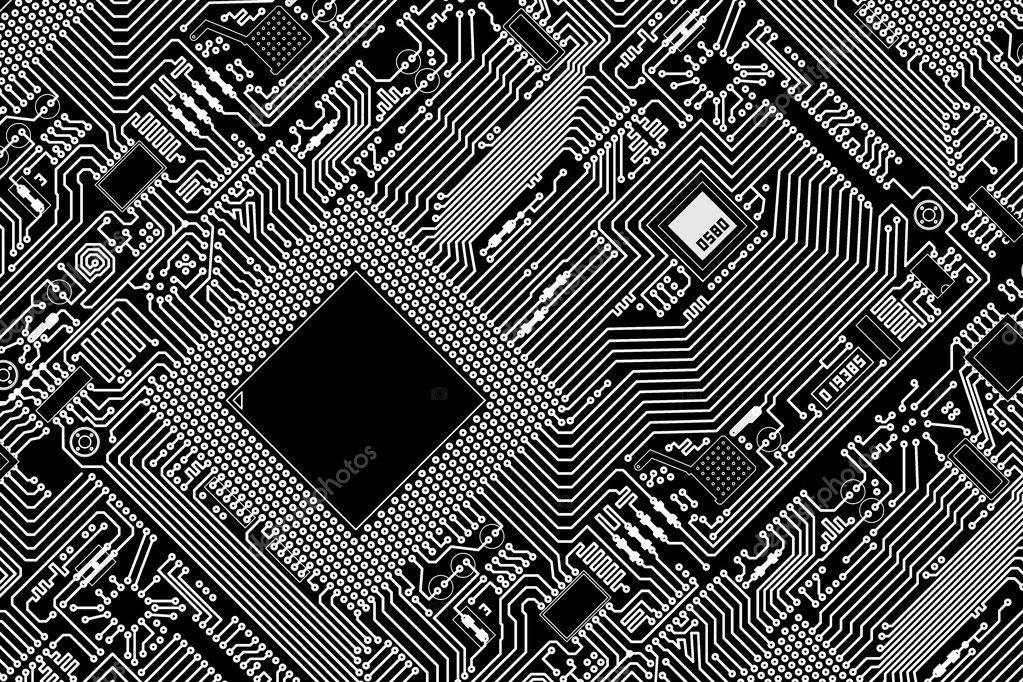High tech graphic industrial circuit board black background — Stock Photo #2385203