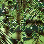 Circuit board dark green hi-tech texture — Stock Photo