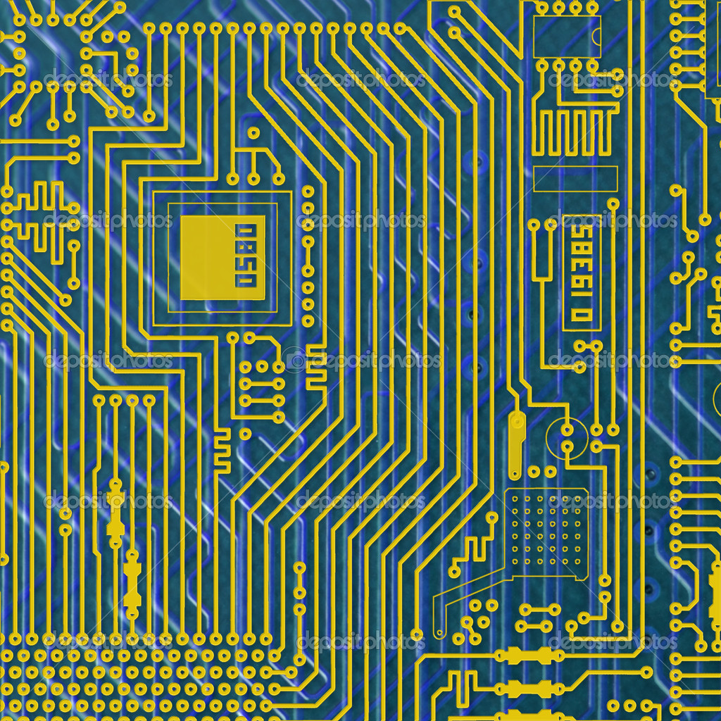 Circuit board electronic golden - blue square background — Stock Photo #2392615