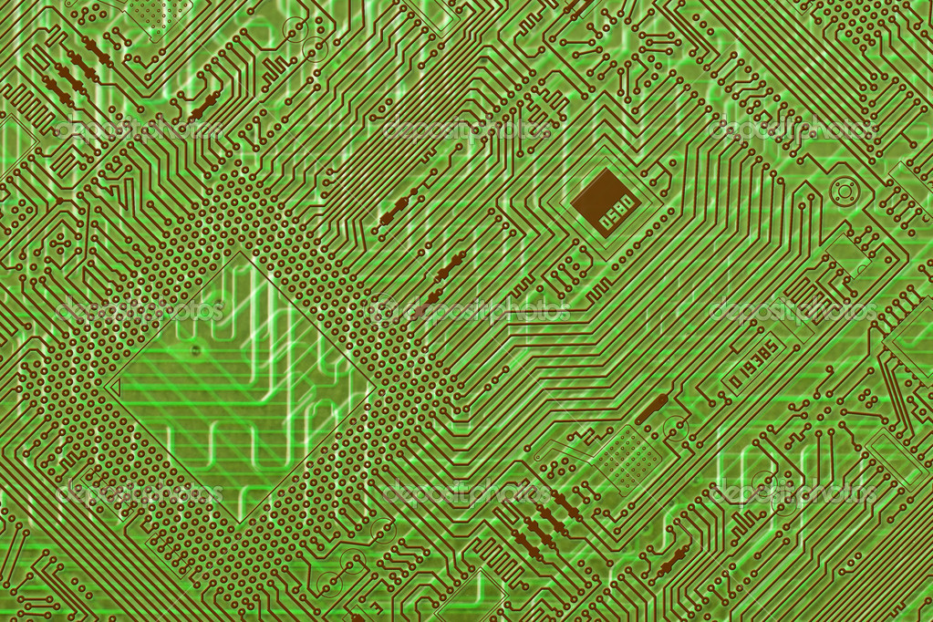 Circuit board electronic green fantastic diagonal background — Stock Photo #2392649