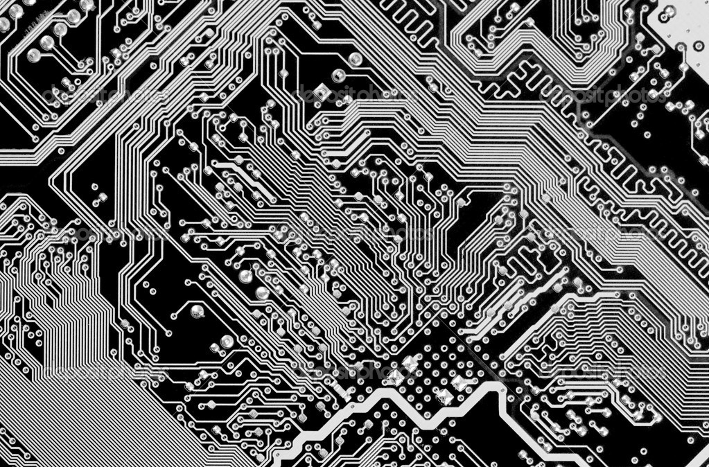 Circuit board electronic black and white background  Stock Photo #2392658