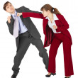 Woman punches a man — Stock Photo