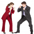 Man and woman in business suits - Stock Photo