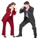 man och kvinna i passar företag — Stockfoto