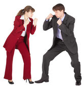 Man and woman in business suits — Stok fotoğraf