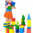 Happy smiling children playing with colorful toy — Stock Photo