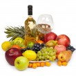 Still Life - heap of fruits and bottle — Stock Photo