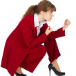 Business woman in combat readiness — Stock Photo