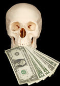 Horrible skull with of money in mouth — Stock Photo