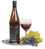 Still life bottle of wine glass — Stock Photo