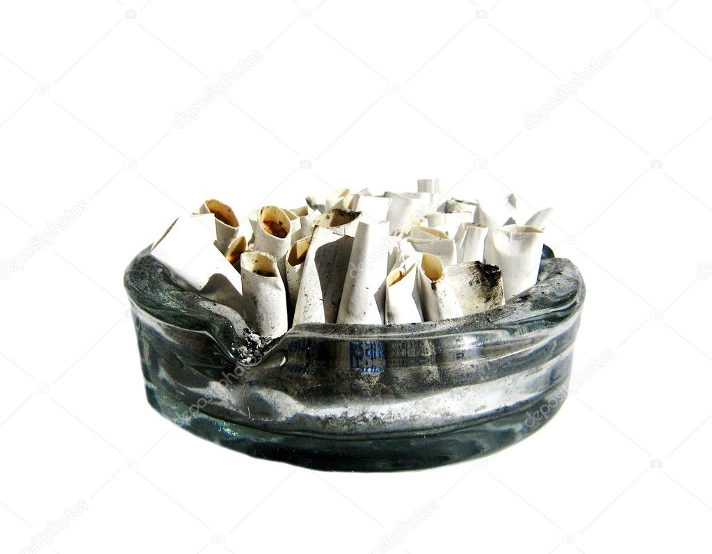 Cigarette butts in ash tray. Isolated — Stock Photo #1018719