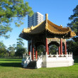 Pagoda And High-Rise Building Behind - Foto Stock