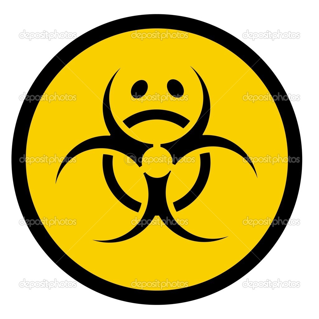  illustration of a bio hazard symbol with sad face  Stock Photo #1123379