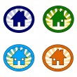 Set of four houses - Stock Photo
