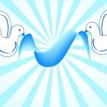 witte duiven houden blauw lintKırmızı kalp tutan mavi güvercin — Stockfoto