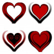 Four different hearts — Stock Photo