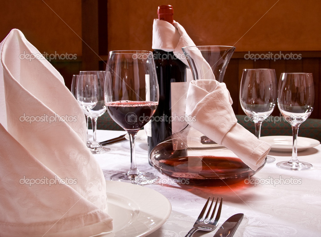 The served table with red wine at restaurant  Stock Photo #1006511